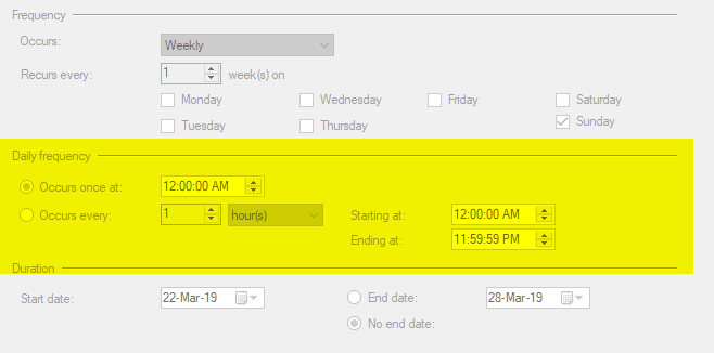 Daily Frequency Timer Screenshot