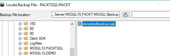 Select the backup file