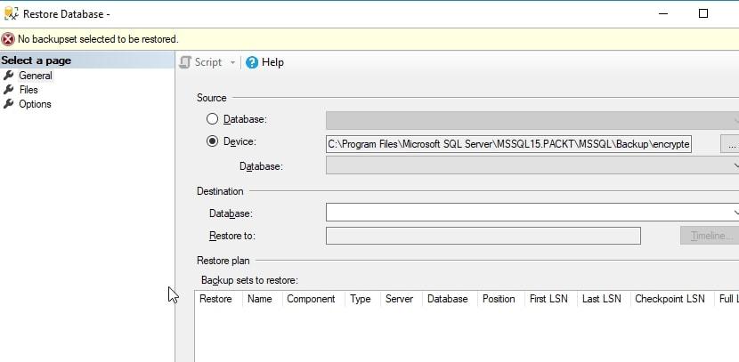 Restore dialog error: no backup set