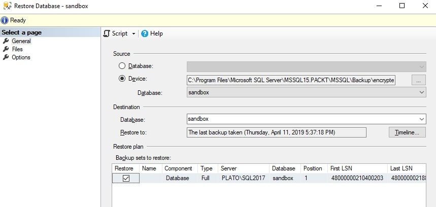 Restore dialog with backup set listed