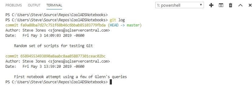 Git log output