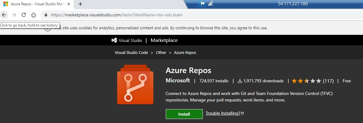 Azure Repos extension in browser