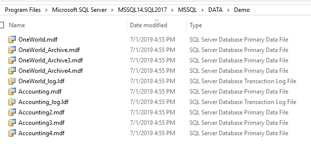 Database files in Explorer with all MDF files