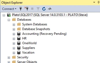 Accounting database in recovery pending
