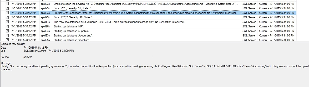 Error log with error logged about missing file.