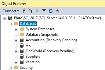 Two databases in recovery mode