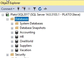SSMS with 5 databases