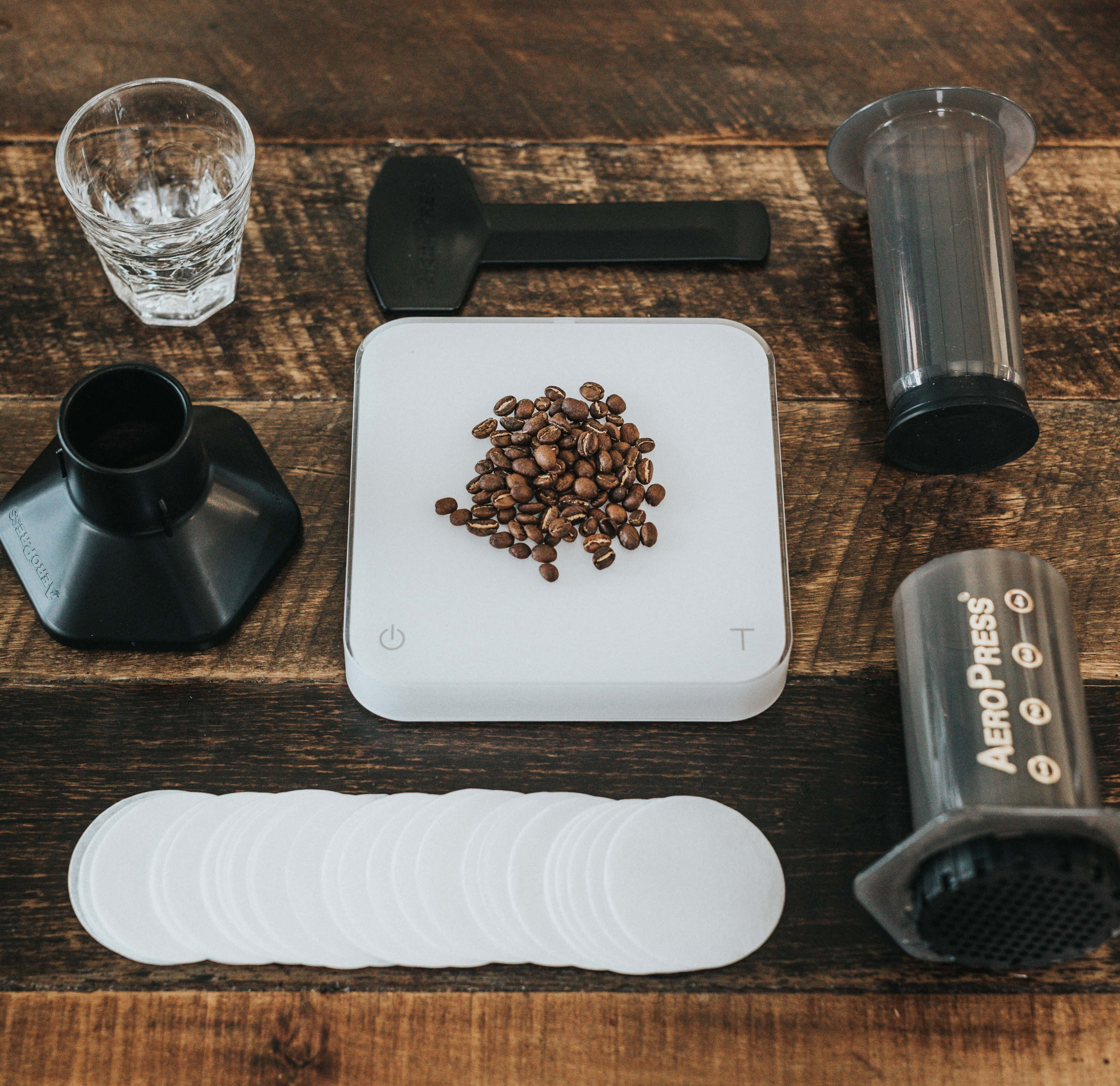 Coffee beans and equipment