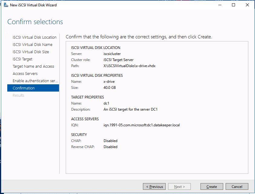 Confirm Selections Virtual Disk Wizard Screenshot