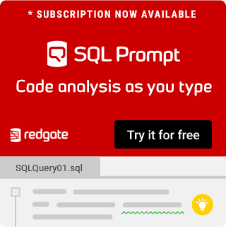 Advert for Redgate SQL Prompt offering code analysis as you type