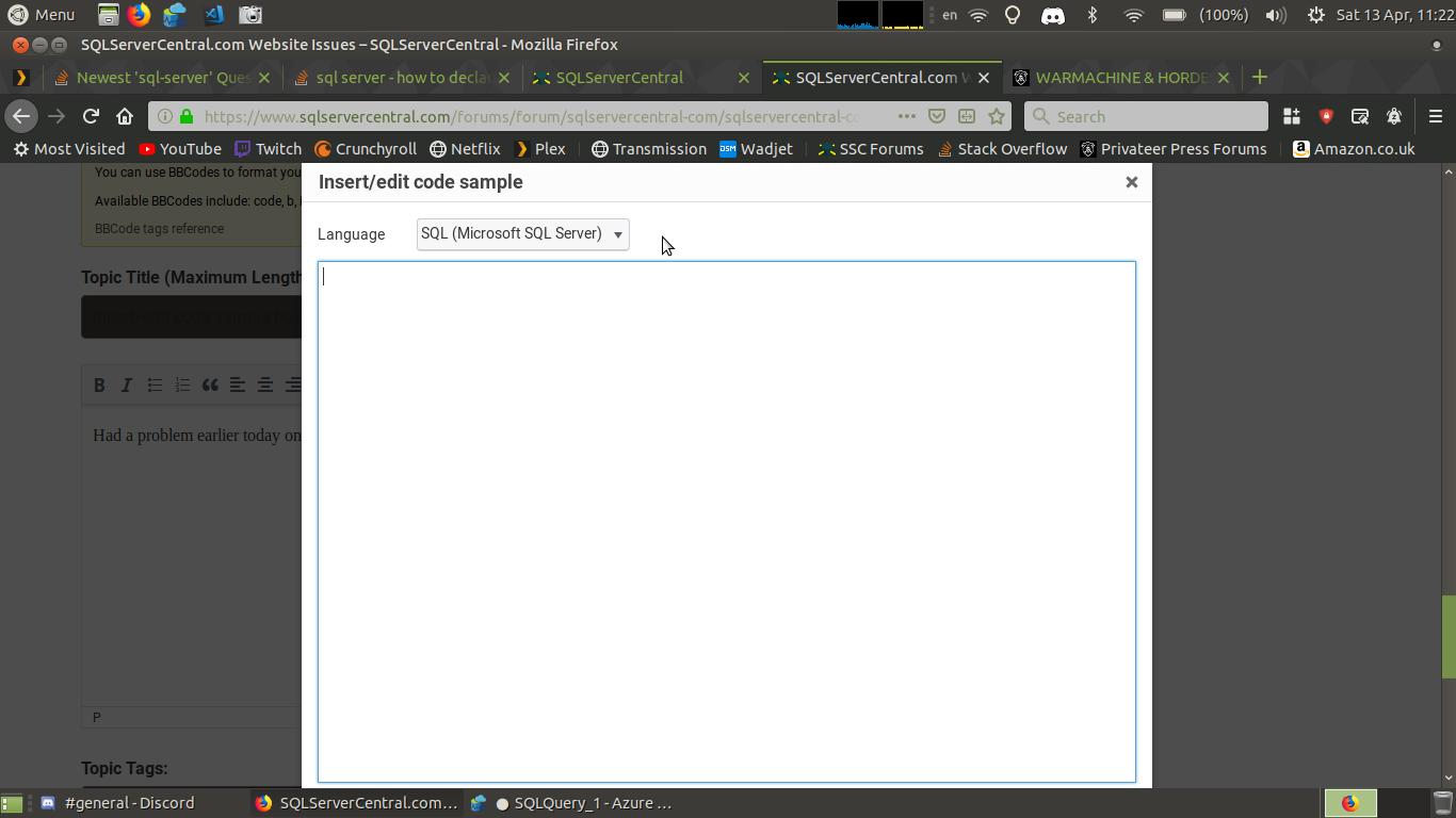 Insert/edit code sample box on smaller screens