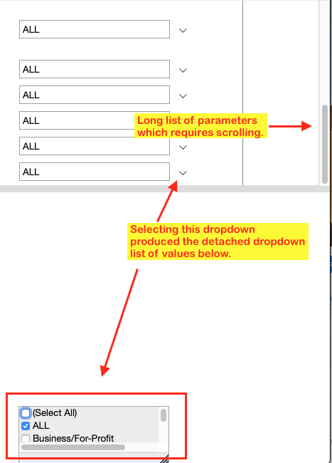 Detached parameter list of values in SSRS