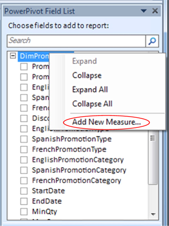 Select Add New Measure