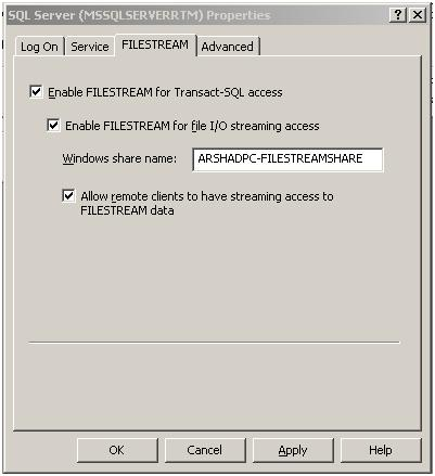 Filestream in Configuration Manager