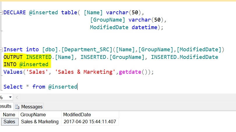 The OUTPUT Clause for INSERT and DELETE Statements – SQLServerCentral