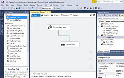 Solving an SSIS Error – Cannot convert between Unicode and non