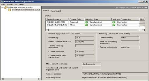 SQL Server Mirroring Monitoring