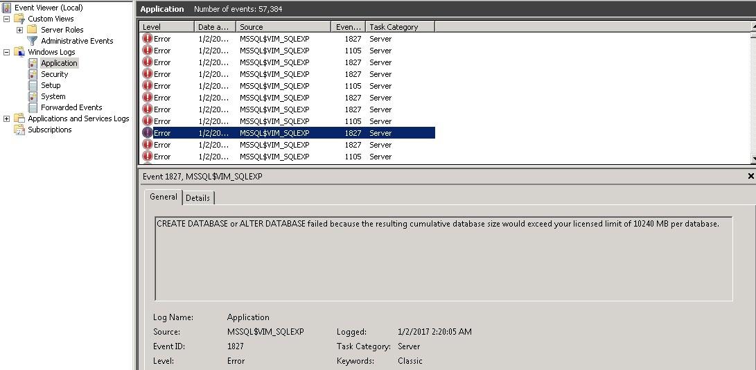 vCenter Server fails to start, Purge and Shrink Vcenter SQL Database