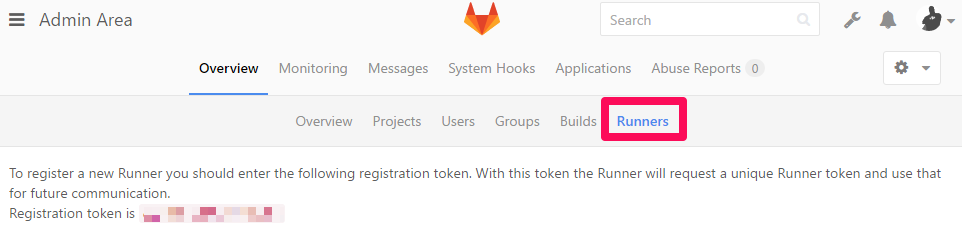 GitLab runner registration token