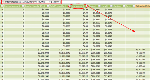 Calculated Column Using BLANK() on the InternetSales Tab (Partial View)