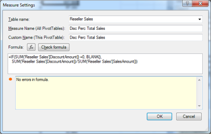 No Errors in the PowerPivot Formula
