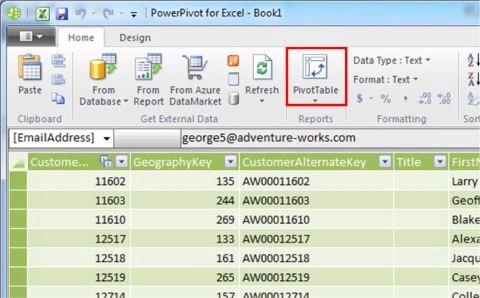 Click the PivotTable Button atop the PowerPivot Window