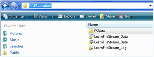 Filestream in the file system