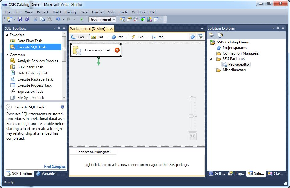 How to deploy and execute an SSIS package from the SSISDB catalog