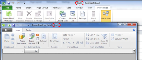 The PowerPivot Window, Associated with the Workbook, Appears