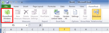 The PowerPivot Window Launch Button on the PowerPivot Ribbon