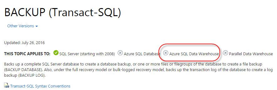 Backups in Azure SQL Data Warehouse – SQLServerCentral