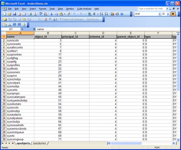 Data exported to Excel