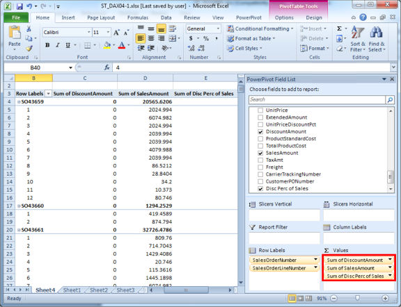 Adding the Calculated Column to the PivotTable