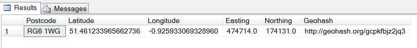 Convert UK Postcode to Latitude/Longitude/Northing/Easting using SQL